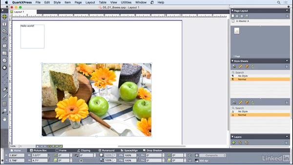 Working with boxes: QuarkXPress 2016 Essential Training