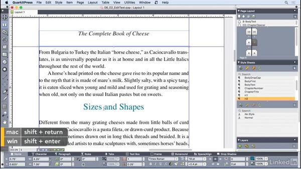 Editing text: QuarkXPress 2016 Essential Training