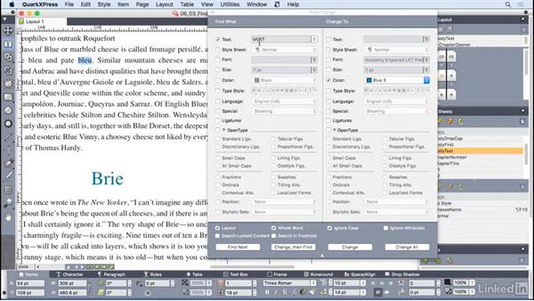 Working with Find/Change: QuarkXPress 2016 Essential Training