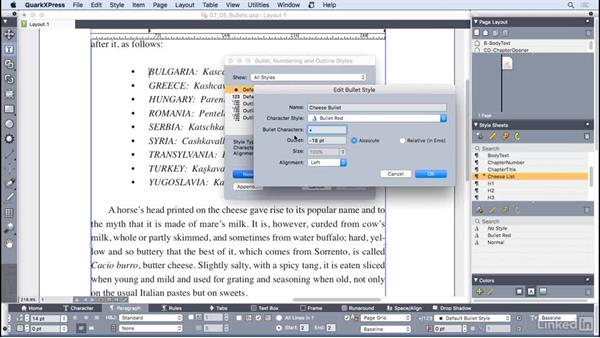 Working with bullets: QuarkXPress 2016 Essential Training