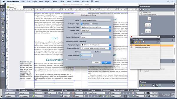 Creating footnotes and endnotes: QuarkXPress 2016 Essential Training