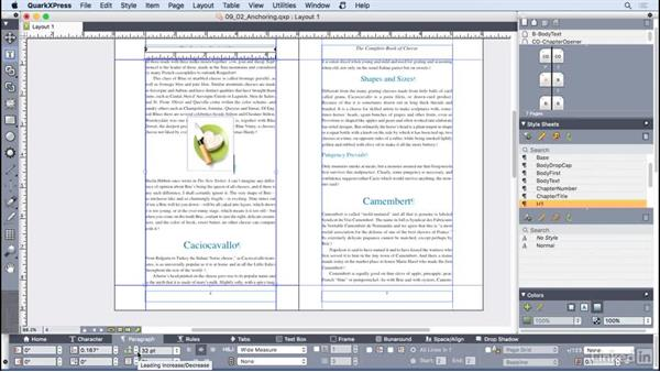 Creating anchored boxes: QuarkXPress 2016 Essential Training