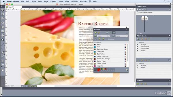 Using the color picker: QuarkXPress 2016 Essential Training
