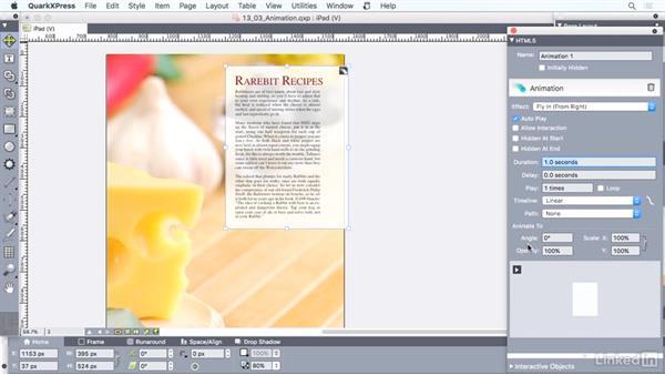 Adding animation: QuarkXPress 2016 Essential Training