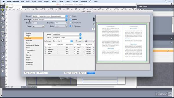 Understanding the Print dialog box controls: QuarkXPress 2016 Essential Training