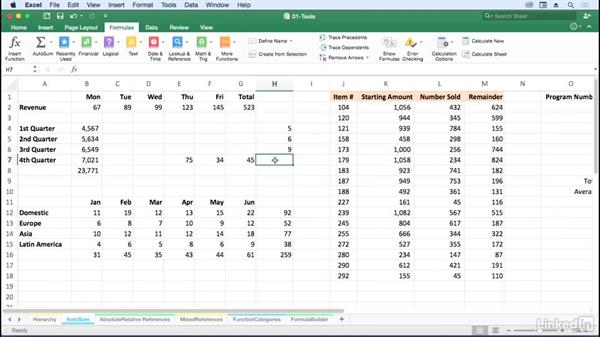 Save time with AutoSum and extended features: Excel for Mac 2016: Advanced Formulas and Functions
