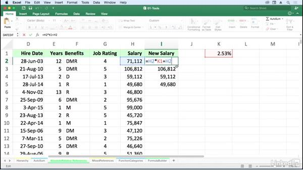 Determine when to use absolute references vs. relative: Excel for Mac 2016: Advanced Formulas and Functions