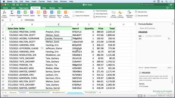 Use function category buttons for locating functions: Excel for Mac 2016: Advanced Formulas and Functions