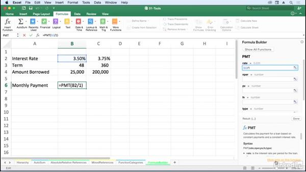 Use the Formula Builder for unfamiliar functions: Excel for Mac 2016: Advanced Formulas and Functions