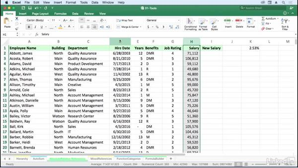 Use AutoCalculate to get totals for selected cells: Excel for Mac 2016: Advanced Formulas and Functions