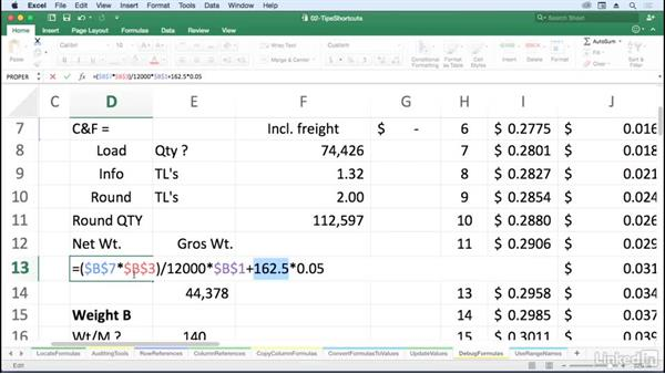 Simplify debugging formulas with the F9 key: Excel for Mac 2016: Advanced Formulas and Functions