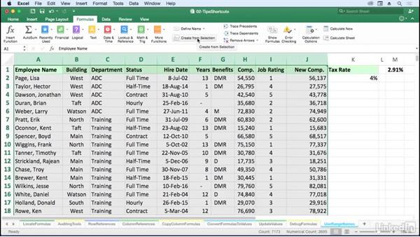 Enhance readability with range names: Excel for Mac 2016: Advanced Formulas and Functions