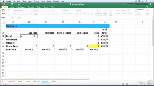 Create 3D formulas that gather data from multiple sheets: Excel for Mac 2016: Advanced Formulas and Functions