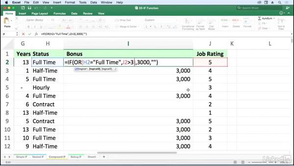 Create compound logical tests: AND, OR, and NOT with IF: Excel for Mac 2016: Advanced Formulas and Functions