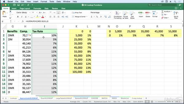 Find approximate matches with VLOOKUP: Excel for Mac 2016: Advanced Formulas and Functions
