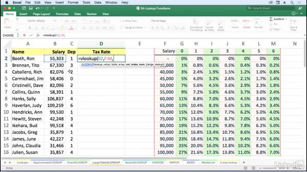 Use VLOOKUP with large tables: Excel for Mac 2016: Advanced Formulas and Functions