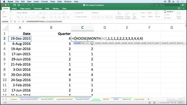 Find table-like information with CHOOSE: Excel for Mac 2016: Advanced Formulas and Functions