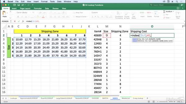 Retrieve information by location with INDEX: Excel for Mac 2016: Advanced Formulas and Functions