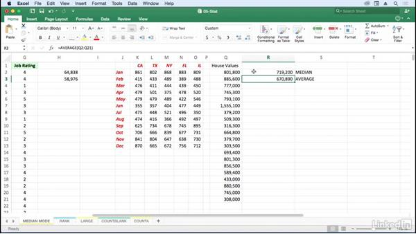 Use MEDIAN for middle value, MODE for most frequent: Excel for Mac 2016: Advanced Formulas and Functions