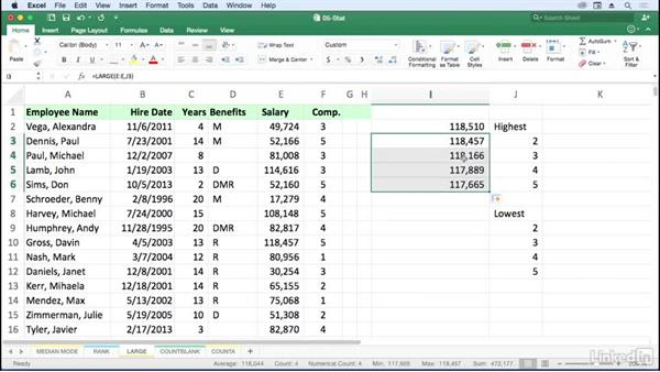 Find largest and smallest values with LARGE and SMALL: Excel for Mac 2016: Advanced Formulas and Functions
