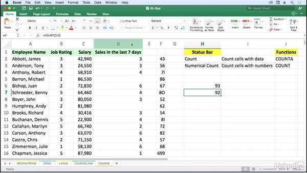 Use COUNT, COUNTA, and the status bar: Excel for Mac 2016: Advanced Formulas and Functions