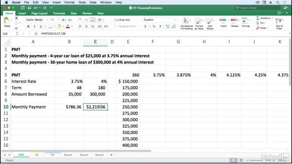 Calculate monthly payment with PMT: Excel for Mac 2016: Advanced Formulas and Functions