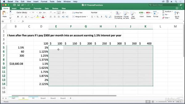 Calculate the future value of a series with FV: Excel for Mac 2016: Advanced Formulas and Functions
