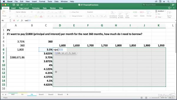Use PV to determine fixed-term borrow amount: Excel for Mac 2016: Advanced Formulas and Functions