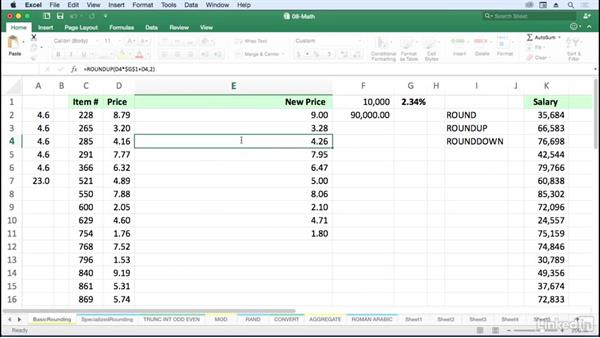 Change displayed result with ROUND, ROUNDUP, and ROUNDDOWN: Excel for Mac 2016: Advanced Formulas and Functions