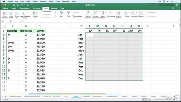 Generate random values with RAND and RANDBETWEEN: Excel for Mac 2016: Advanced Formulas and Functions