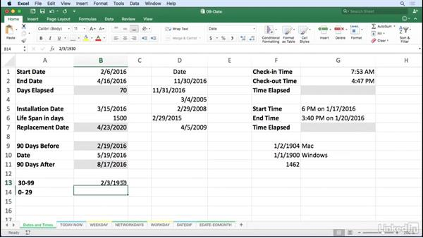 Use dates and times in Excel formulas: Excel for Mac 2016: Advanced Formulas and Functions