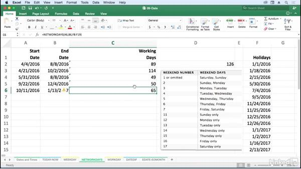 Count working days with NETWORKDAYS: Excel for Mac 2016: Advanced Formulas and Functions