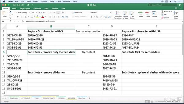 Adjust character content with REPLACE and SUBSTITUTE: Excel for Mac 2016: Advanced Formulas and Functions