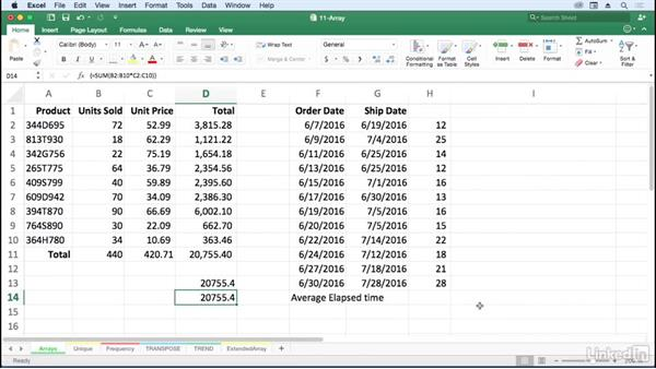 Extend formula capabilities with arrays: Excel for Mac 2016: Advanced Formulas and Functions