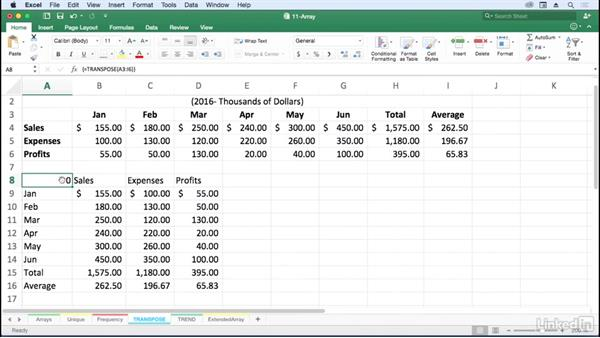 Flip row/column orientation with TRANSPOSE: Excel for Mac 2016: Advanced Formulas and Functions