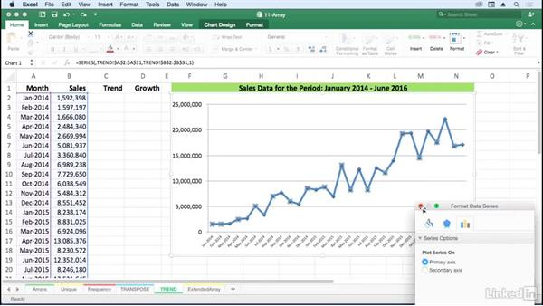 Build analysis with TREND and GROWTH regression techniques: Excel for Mac 2016: Advanced Formulas and Functions
