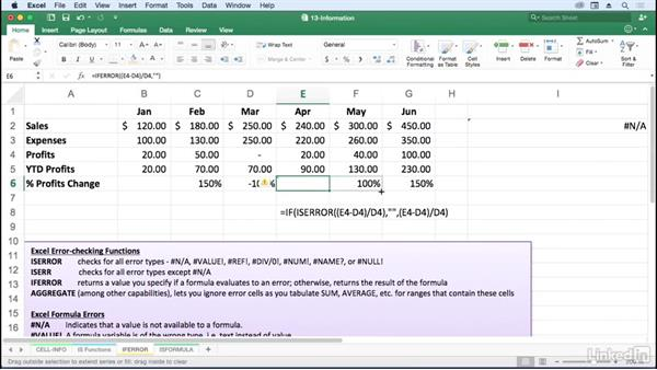 Use ISERR, ISERROR, IFERROR, and ISNA: Excel for Mac 2016: Advanced Formulas and Functions