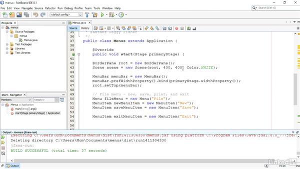 Include a menu: JavaFX GUI Development