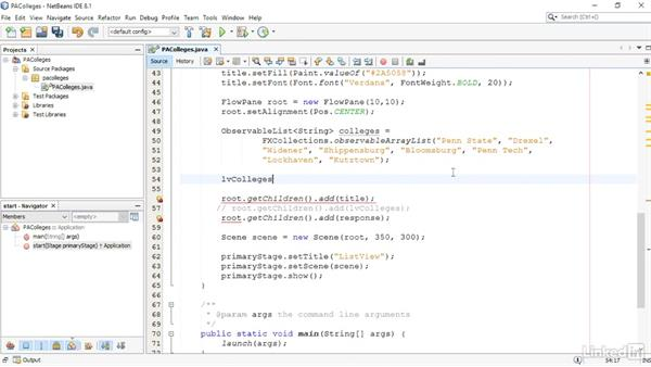 Provide a ListView for user selections: JavaFX GUI Development