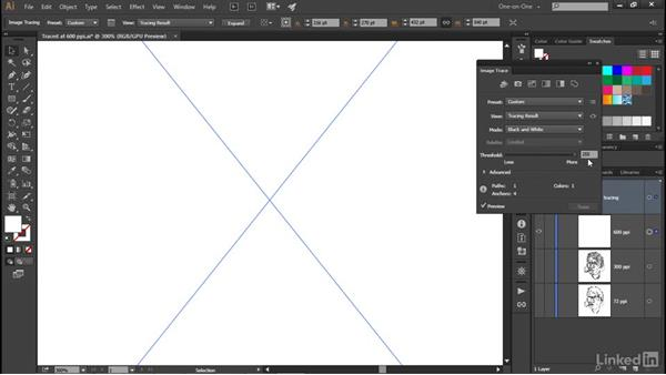 Adjusting the Threshold value: Illustrator CC 2015 One-on-One: Advanced