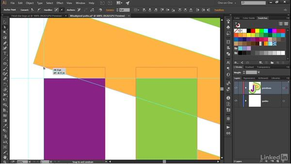 Skewing one path to match another: Illustrator CC 2015 One-on-One: Advanced