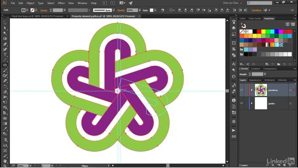 Power-duplicating the petals of the star logo: Illustrator CC 2015 One-on-One: Advanced