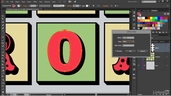 Aligning the backs of your extruded letters: Illustrator CC 2015 One-on-One: Advanced