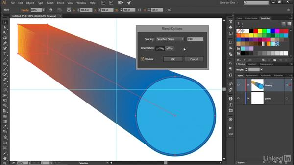 Creating a dynamic object blend: Illustrator CC 2015 One-on-One: Advanced