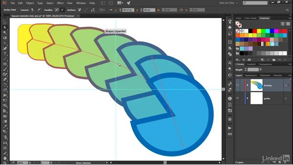 Redirecting a blend by editing its spine: Illustrator CC 2015 One-on-One: Advanced
