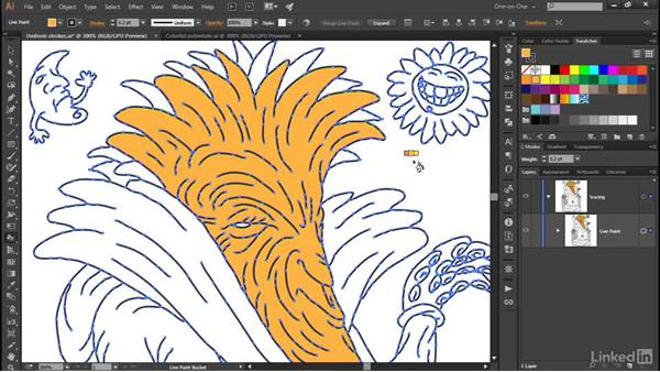 Coloring traced or freeform line art: Illustrator CC 2015 One-on-One: Advanced