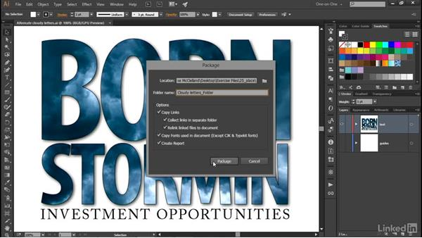 Packaging all linked images and fonts: Illustrator CC 2015 One-on-One: Advanced