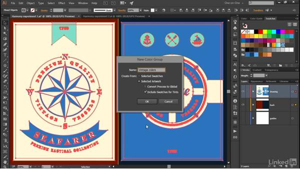 Using a color group as a harmony rule: Illustrator CC 2015 One-on-One: Advanced