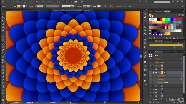 Alternating the colors of repeated objects: Illustrator CC 2015 One-on-One: Advanced