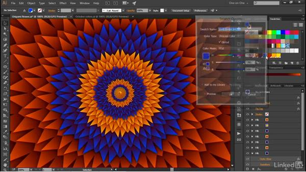 Swapping out colors in dynamic art: Illustrator CC 2015 One-on-One: Advanced